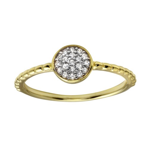Wholesale Sterling Silver 925 Gold Plated Circle Ring with CZ - BGR01183