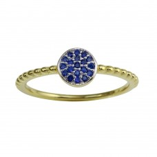 Wholesale Sterling Silver 925 Gold Plated Circle Ring with Blue CZ - BGR01183BLUE
