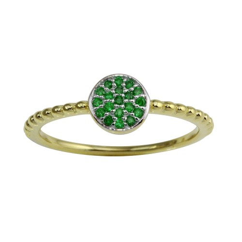 Wholesale Sterling Silver 925 Gold Plated Circle Ring with Green CZ - BGR01183GRN