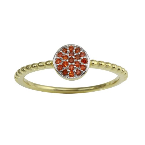 Wholesale Sterling Silver 925 Gold Plated Circle Ring with Red CZ - BGR01183RED