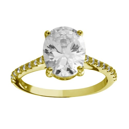 Wholesale Sterling Silver 925 Gold Plated Oval Solitaire CZ Band Ring - BGR01184GP