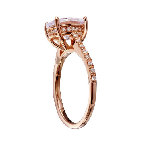 Wholesale Sterling Silver 925 Rose Gold Plated Oval Solitaire CZ Band Ring - BGR01184RGP