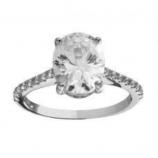 Wholesale Sterling Silver 925 Rhodium Plated Oval Solitaire CZ Band Ring - BGR01184RHD