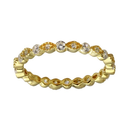 Wholesale Sterling Silver 925 Gold Plated CZ and Eye Pattern Eternity Ring - BGR01185GP