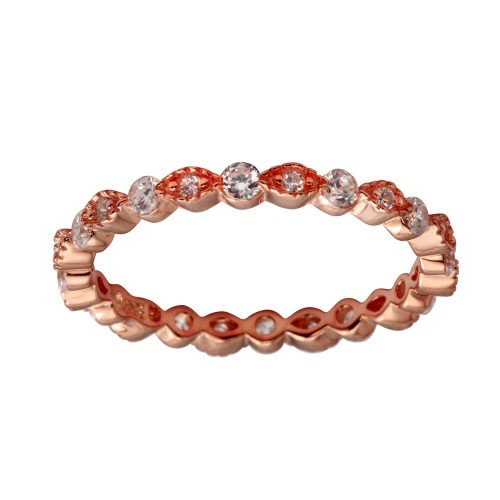 Wholesale Sterling Silver 925 Rose Gold Plated CZ and Eye Pattern Eternity Ring - BGR01185RGP