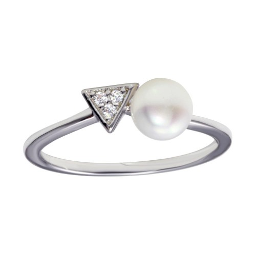 Wholesale Sterling Silver 925 Rhodium Plated CZ and Synthetic Pearl Ring - BGR01188
