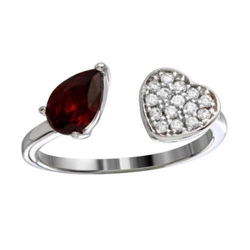 Wholesale Sterling Silver 925 Rhodium Plated Open Heart Ring with CZ - BGR01190RED
