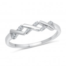 Wholesale Sterling Silver 925 Rhodium Plated ZigZag Pattern Ring with CZ - BGR01192