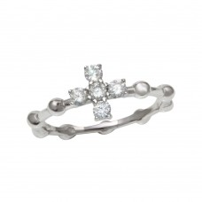 Wholesale Sterling Silver 925 Rhodium Plated Beaded Shank CZ Cross Ring - BGR01193