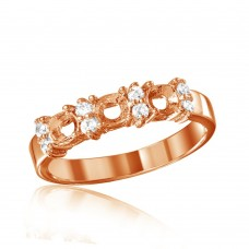 Wholesale Sterling Silver 925 Rose Gold Plated 3 Mounting Stone Ring with CZ - BGR01210RGP