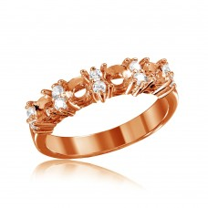 Wholesale Sterling Silver 925 Rose Gold Plated 4 Mounting Stone Ring with CZ - BGR01211RGP