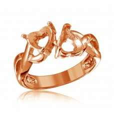 Wholesale Sterling Silver 925 Rose Gold Plated Double Heart  Mounting Twisted Shank Ring - BGR01219RGP