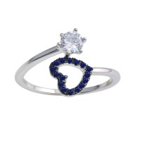 Wholesale Sterling Silver 925 Rhodium Plated Open Heart Ring with Blue and Clear CZ - BGR01221BLU