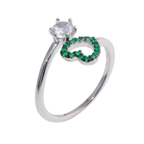 Wholesale Sterling Silver 925 Rhodium Plated Open Heart Ring with Green and Clear CZ - BGR01221GRN