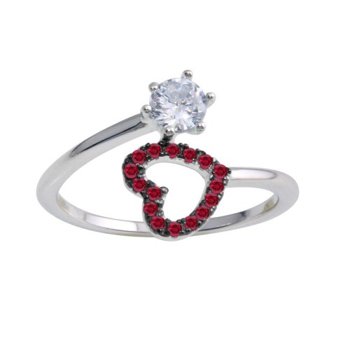 Wholesale Sterling Silver 925 Rhodium Plated Open Heart Ring with Red and Clear CZ - BGR01221RED