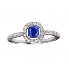 Wholesale Sterling Silver 925 Rhodium Plated Square Clear and Blue CZ Center Stone Ring - BGR01222BLU