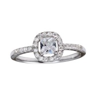 Wholesale Sterling Silver 925 Rhodium Plated Square Clear CZ Center Stone Ring - BGR01222CLR