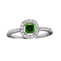 Wholesale Sterling Silver 925 Rhodium Plated Square Clear and Green CZ Center Stone Ring - BGR01222GRN