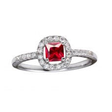 Wholesale Sterling Silver 925 Rhodium Plated Square Clear and Red CZ Center Stone Ring - BGR01222RED