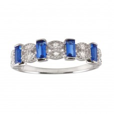 Wholesale Sterling Silver 925 Rhodium Plated Blue Bar CZ Link Ring  - BGR01223BLU