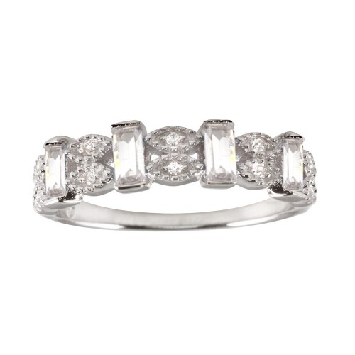 Wholesale Sterling Silver 925 Rhodium Plated Clear Bar CZ Link Ring - BGR01223CLR