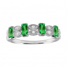 Wholesale Sterling Silver 925 Rhodium Plated Green Bar CZ Link Ring - BGR01223GRN