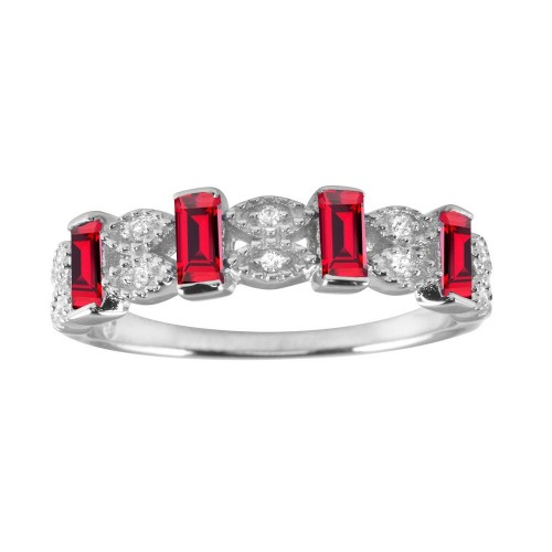 Wholesale Sterling Silver 925 Rhodium Plated Red Bar CZ Link Ring  - BGR01223RED