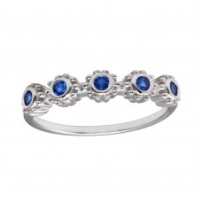Wholesale Sterling Silver 925 Rhodium Plated 5 Flower Blue CZ Ring - BGR01224BLU