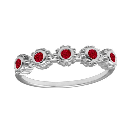 Wholesale Sterling Silver 925 Rhodium Plated 5 Flower Red CZ Ring - BGR01224RED