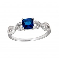 Wholesale Sterling Silver 925 Rhodium Plated Square Blue CZ Center Stone Chain Design Shank Ring - BGR01225BLU