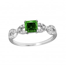 Wholesale Sterling Silver 925 Rhodium Plated Square Green CZ Center Stone Chain Design Shank Ring - BGR01225GRN