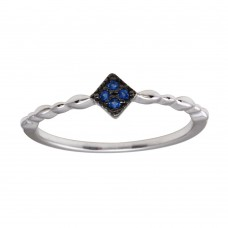 Wholesale Sterling Silver 925 Rhodium Plated Diamond Shape 4 Blue CZ Ring - BGR01226BLU
