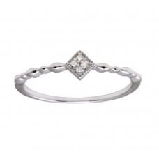 Wholesale Sterling Silver 925 Rhodium Plated Diamond Shape 4 Clear CZ Ring - BGR01226CLR