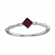 Wholesale Sterling Silver 925 Rhodium Plated Diamond Shape 4 Red CZ Ring - BGR01226RED