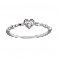 Wholesale Sterling Silver 925 Rhodium Plated Heart 3 Clear CZ Ring - BGR01227CLR