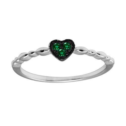 Wholesale Sterling Silver 925 Rhodium Plated Heart 3 Green CZ Ring - BGR01227GRN