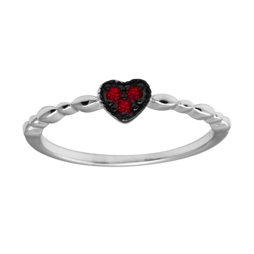 Wholesale Sterling Silver 925 Rhodium Plated Heart 3 Red CZ Ring - BGR01227RED