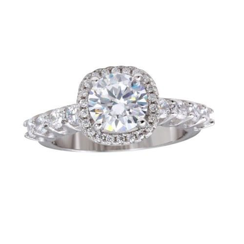Wholesale Sterling Silver 925 Rhodium Plated Round CZ Square Shape Halo Ring with CZ Shank - BGR01229