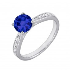 Wholesale Sterling Silver 925 Rhodium Plated Round Blue CZ Center Stone Ring - BGR01231BLU