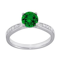 Wholesale Sterling Silver 925 Rhodium Plated Round Green CZ Center Stone Ring - BGR01231GRN