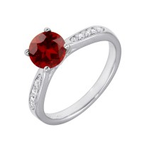Wholesale Sterling Silver 925 Rhodium Plated Round Red CZ Center Stone Ring - BGR01231RED