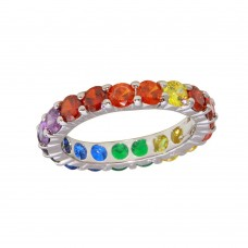 Wholesale Sterling Silver 925 Rhodium Plated Round Multi-Colored CZ Eternity Ring - BGR01232