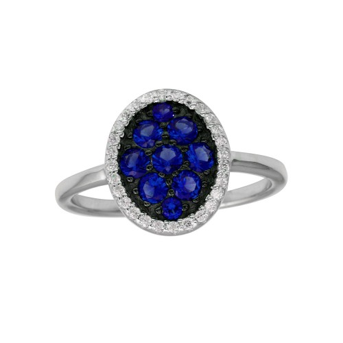 Wholesale Sterling Silver 925 Rhodium Plated Oval Ring with Blue and Clear CZ - BGR01233BLU