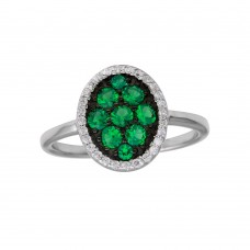 Wholesale Sterling Silver 925 Rhodium Plated Oval Ring with Green and Clear CZ - BGR01233GRN