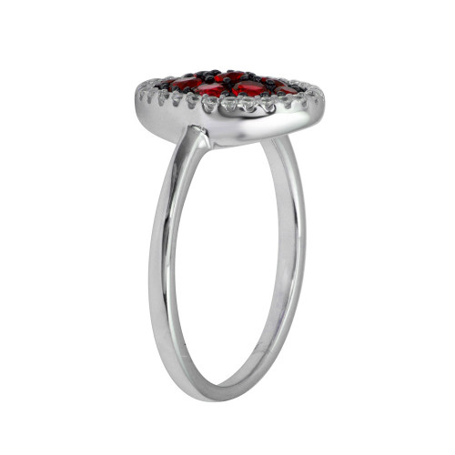 Wholesale Sterling Silver 925 Rhodium Plated Oval Ring with Red and Clear CZ - BGR01233RED