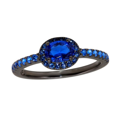 Wholesale Sterling Silver 925 Black Rhodium Plated Blue Oval CZ Stone Ring - BGR01235