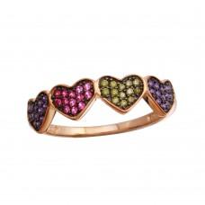 Wholesale Sterling Silver 925 Rose Gold Plated 4 Heart Ring with Multi-Colored CZ - BGR01236