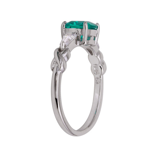 Wholesale Sterling Silver 925 Rhodium Plated Teal CZ Stone Ring - BGR01237