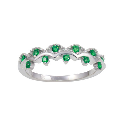 Wholesale Sterling Silver 925 Rhodium Plated Wavy Ring with Green CZ - BGR01239GRN