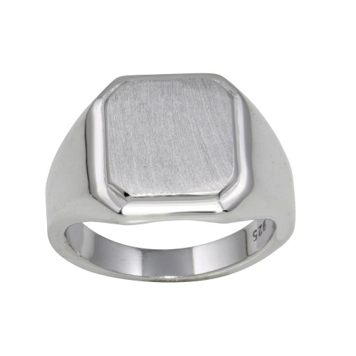 Wholesale Sterling Silver 925 Rhodium Plated Engravable Octagon Ring with Matte Finish - BGR01240